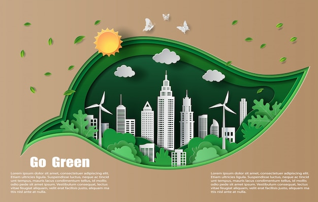 Paper art and craft style of beautiful leaves and green city.