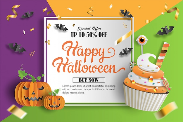 Paper art and craft style, cupcake and pumpkins with sweets decorations.