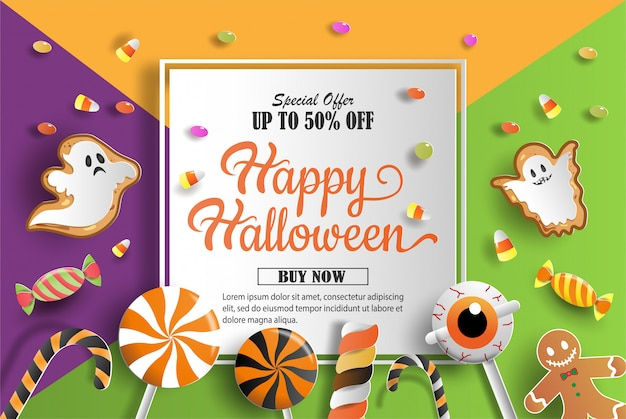 Paper art and craft style of halloween treat decorations promotion banner.