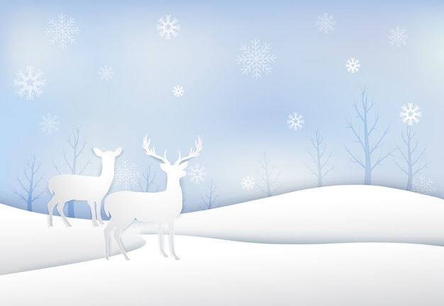 Paper art of deer with snowflake