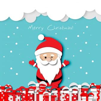 Paper art design christmas festival card