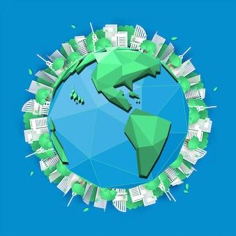 市と紙のアートデザイン要素行くグリーン、世界の概念、ペーパーアート、ベクトル図を保存