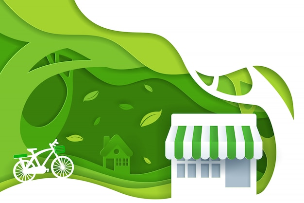 Paper art and digital craft style of nature landscape with bicycle, convenience stores and green eco forest, green eco friendly city concept.