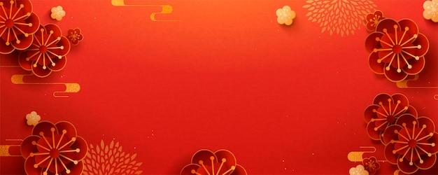 Paper art flower banner design with red color background