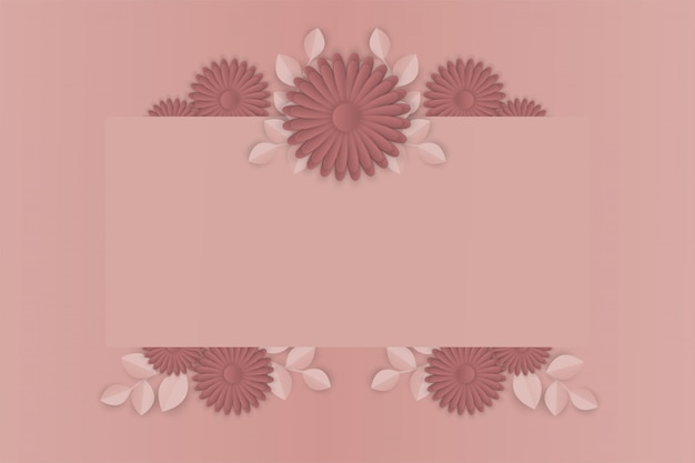 Paper art of flower on  frame background