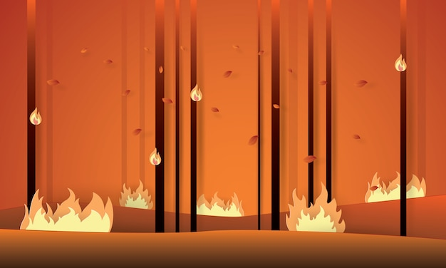 Paper art of forest fire, world and environment
