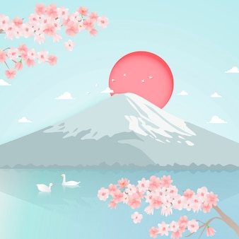 Paper art of fuji mountain background vector