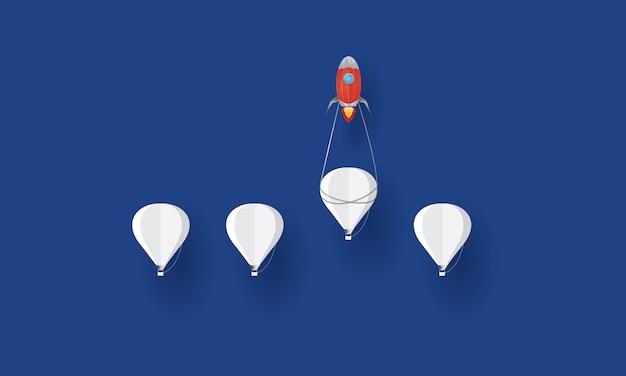 Paper art group of hot air balloon racing