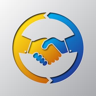 Paper art of the handshake icon.  illustration.