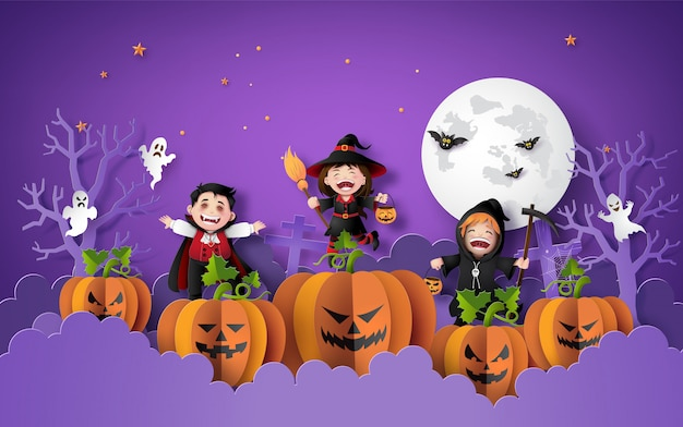 Paper art of happy halloween
