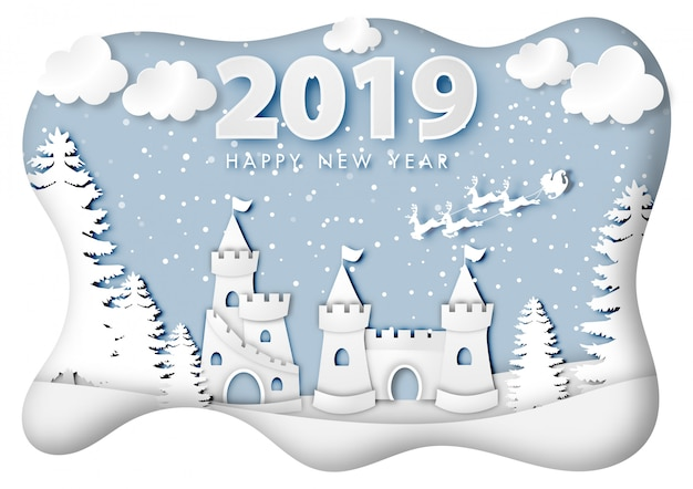 Paper art of happy new year 2019 festival