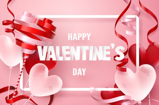 Paper art of happy valentine's day with ribbon and balloon