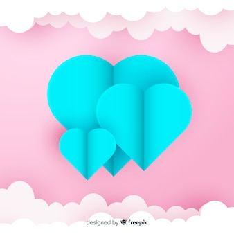 Paper art heart background