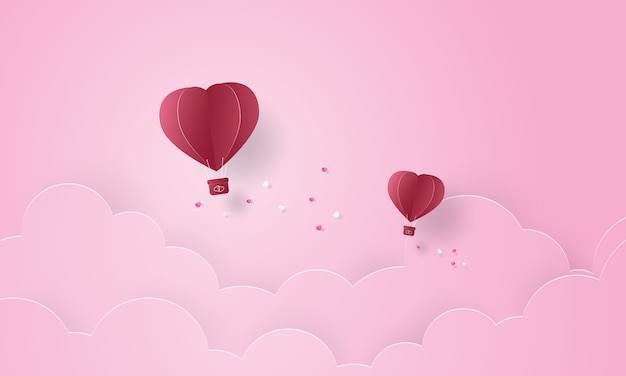 Paper art of hot air balloon flying in the sky, valentine's day
