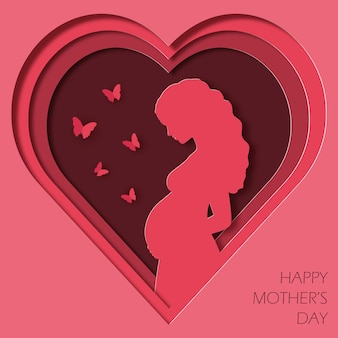 Paper art and kraft style greeting card for happy mothers day pregnant woman and butterflies