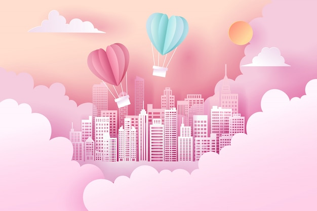 Paper art and landscape, digital craft style of valentine's day
