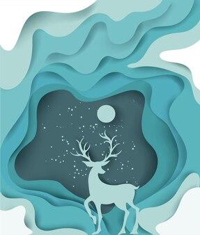 크리스마스와 새해 복 많이 받으세요의 종이 예술 풍경