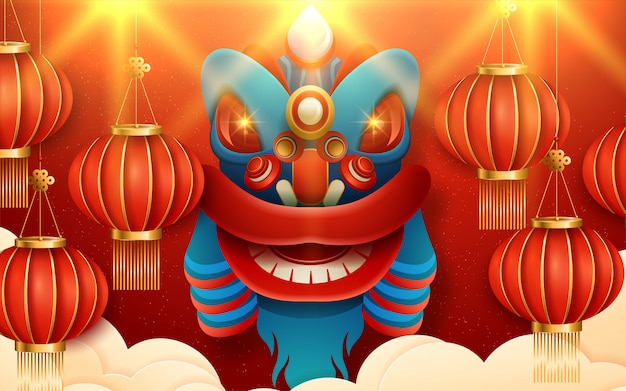 Paper art lanterns decoration for lunar year greeting card red color. translation : happy new year. vector illustration