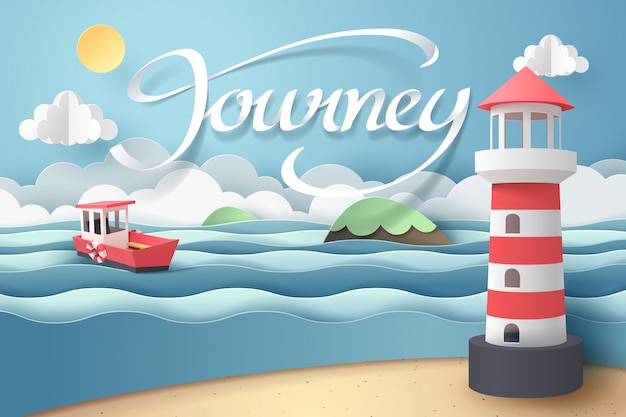 Paper art of lighthouse and journey calligraphy lettering