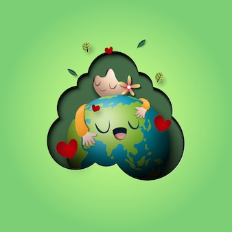 Paper art of love nature concept and mother earth day concept background template.