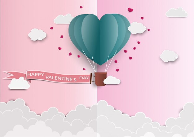 Paper art of love and origami made air balloon heart shape flying with valentines day label.
