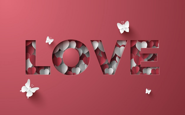 Paper art of love paper cover mini heart