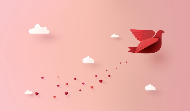 Paper art of love and valentine day,
