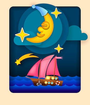Paper art moon, fluffy clouds and stars in midnight.origami paper art style. vector illustration.