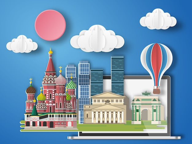 Paper art moscow ,russia infographic.