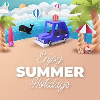 Бумажное искусство голубой автостоянки на пляже. оригами и концепция путешествия