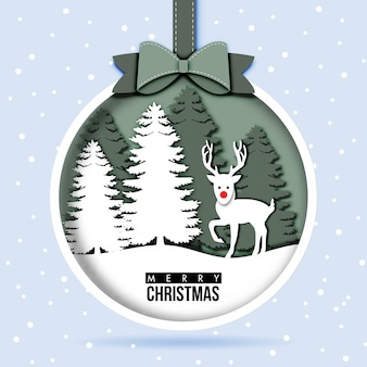 Paper art of Christmas Card with reindeer