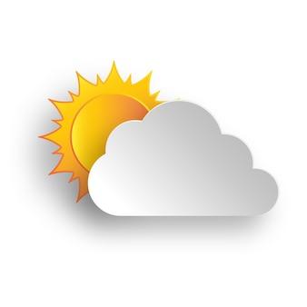 구름과 흰색 바탕에 노란색 태양의 종이 예술. 구름과 함께 추상 배경