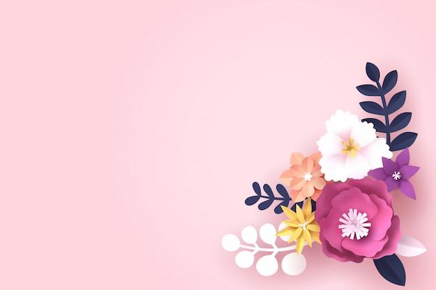 텍스트 복사 공간 꽃의 종이 예술