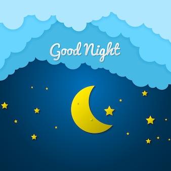 Бумажное искусство спокойной ночи и сладкого сна, ночь и мобильная концепция оригами, искусство и иллюстрация.