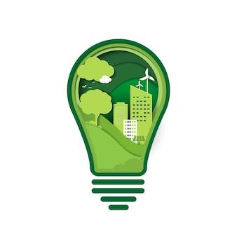 녹색 생태 기술과 자연 개념의 종이 예술. 에너지 창의적인 아이디어 개념을 저장합니다. 자연과 환경을 보호하는 전구. 벡터 디자인입니다.