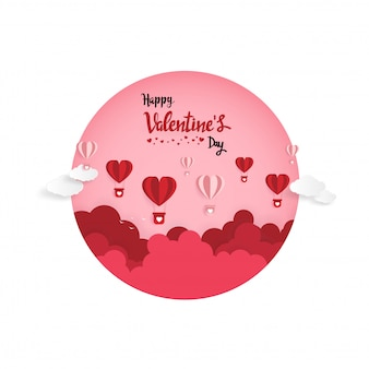 Paper art of illustration love and valentine day