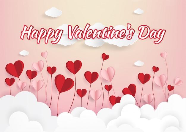 Бумажное искусство иллюстрации любви и дня святого валентина Premium векторы