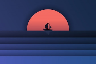 海の景色とボートと夕日のペーパーアート