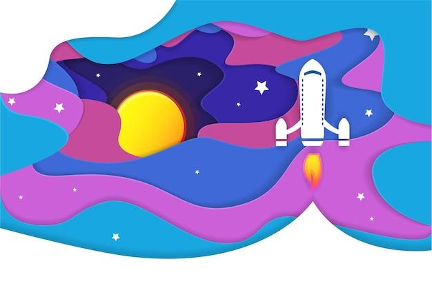 Бумажное искусство запуска космического корабля в небо. ночное небо, сияющие звезды. запуск ракеты.