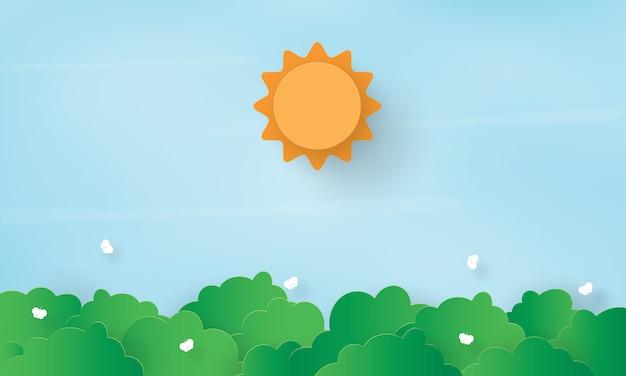小さな蝶と太陽と森のペーパーアート、春の時間