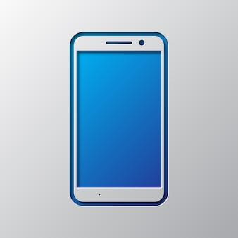 Бумажное искусство синего смартфона. иллюстрации.