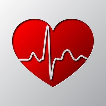 고립 된 붉은 마음과 하트 비트 기호의 종이 예술. 심장 아이콘은 종이에서 잘립니다.