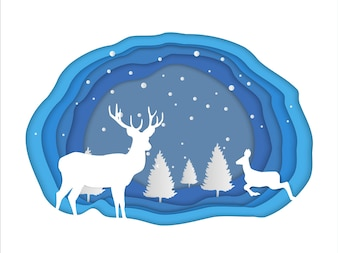 Paper art  of winter forest with deer