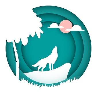 숲의 바위에 보름달을 울부 짖는 늑대의 종이 예술