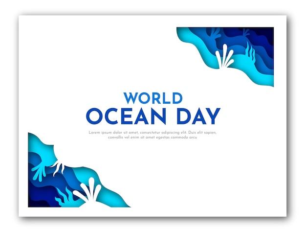 Бумажное искусство шаблона дня мирового океана с синим морем и иллюстрацией коралла