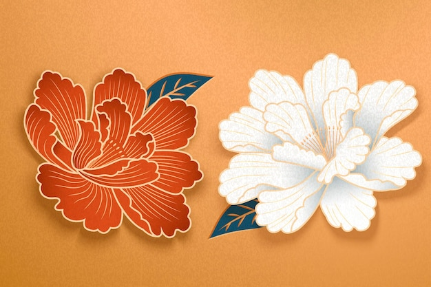 Paper art peony flowers in white and red on golden background