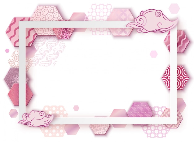 Paper art pink frame with japan wave pattern