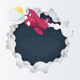 Paper art of plane flying above the cloud, paper art concept and tourism idea,