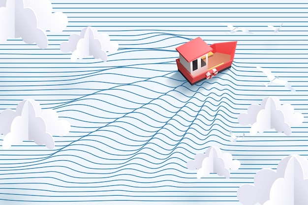 Paper art of red boat and striped sea, origami and travel concept