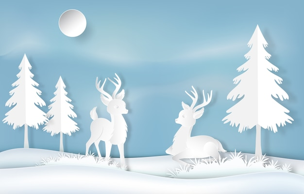 Paper art of reindeer